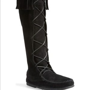 99%new-MINNETONKA front lace up knee-high Boots8